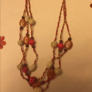 Orange and tan vintage bead necklace